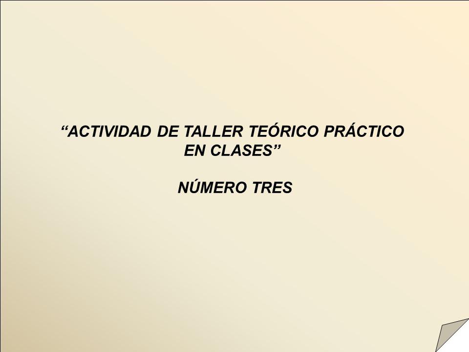 ACTIVIDAD DE TALLER TEÓRICO PRÁCTICO EN CLASES NÚMERO TRES