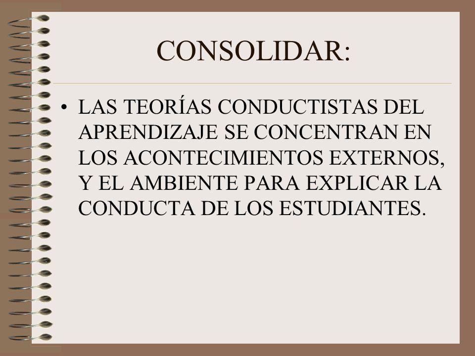 CONSOLIDAR: LAS TEORÍAS CONDUCTISTAS DEL APRENDIZAJE SE CONCENTRAN EN LOS ACONTECIMIENTOS EXTERNOS, Y EL AMBIENTE PARA EXPLICAR LA CONDUCTA DE LOS EST