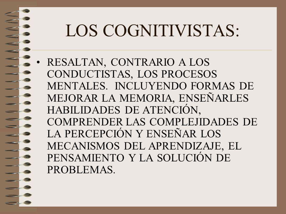 LOS COGNITIVISTAS: RESALTAN, CONTRARIO A LOS CONDUCTISTAS, LOS PROCESOS MENTALES. INCLUYENDO FORMAS DE MEJORAR LA MEMORIA, ENSEÑARLES HABILIDADES DE A