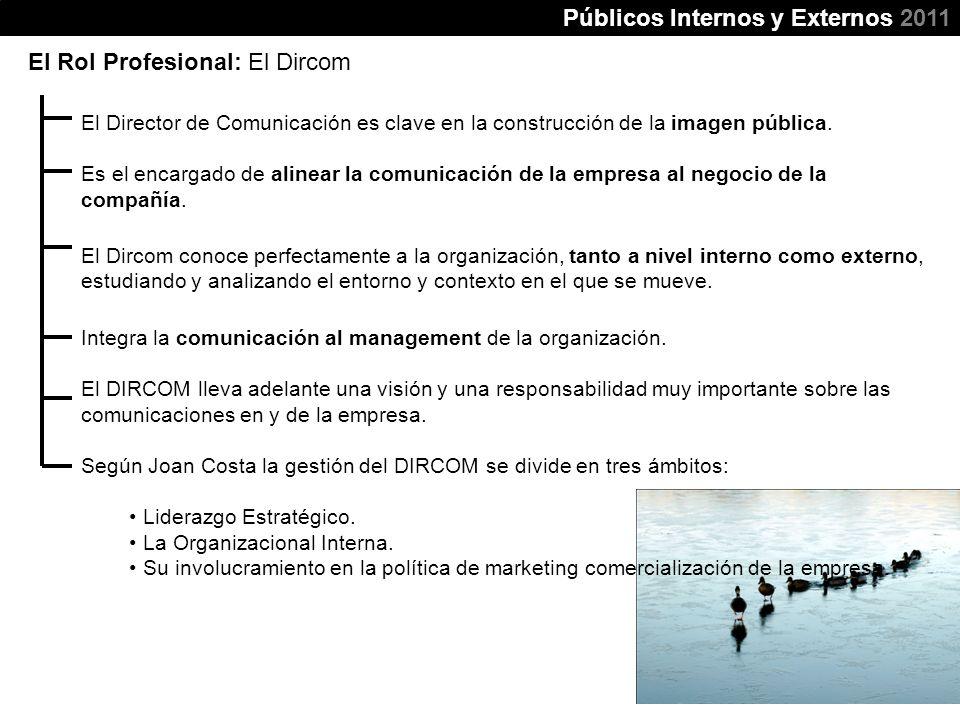 Públicos Internos y Externos 2011 El Rol Profesional: El Dircom El Director de Comunicación es clave en la construcción de la imagen pública. Es el en