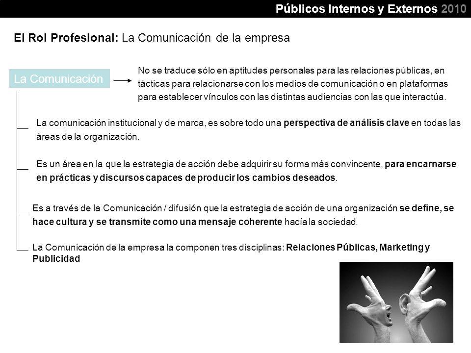 El Rol Profesional: La Comunicación de la empresa La comunicación institucional y de marca, es sobre todo una perspectiva de análisis clave en todas l