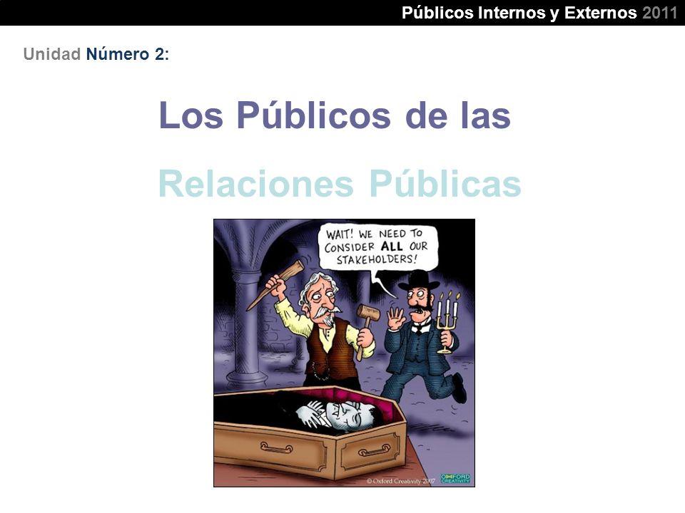 Unidad Número 2: Los Públicos de las Relaciones Públicas Públicos Internos y Externos 2011