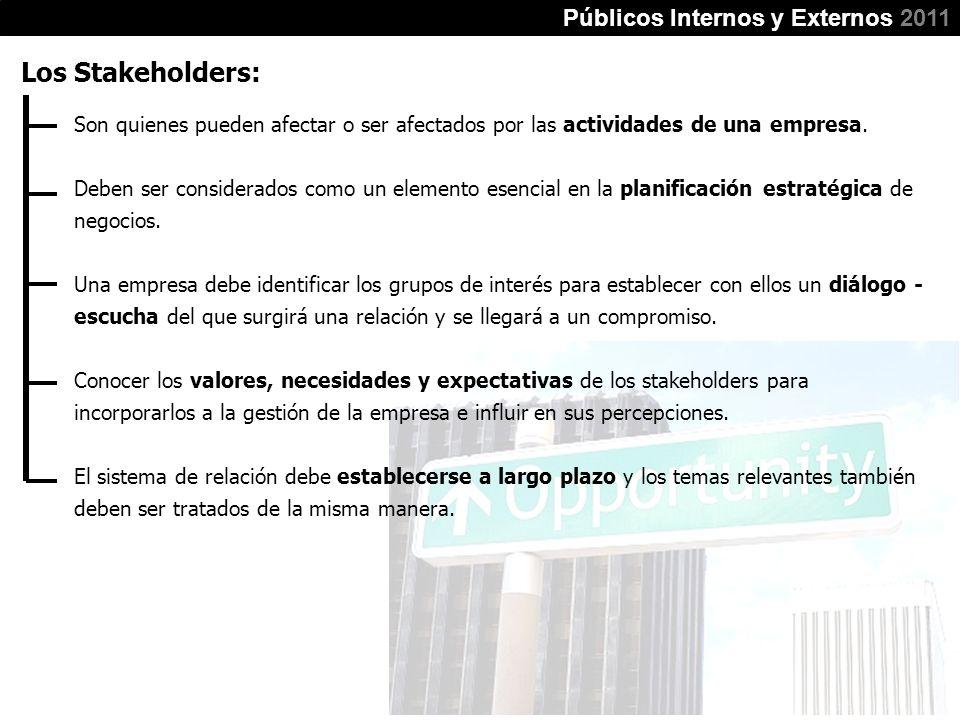 Públicos Internos y Externos 2011 Los Stakeholders: Son quienes pueden afectar o ser afectados por las actividades de una empresa. Deben ser considera