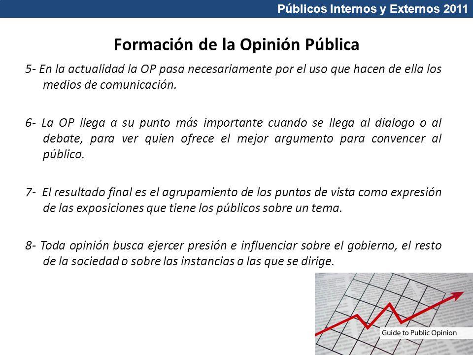 Públicos Internos y Externos 2011 Formación de la Opinión Pública 5- En la actualidad la OP pasa necesariamente por el uso que hacen de ella los medio