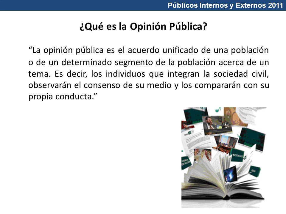 Públicos Internos y Externos 2011 ¿Qué es la Opinión Pública? La opinión pública es el acuerdo unificado de una población o de un determinado segmento