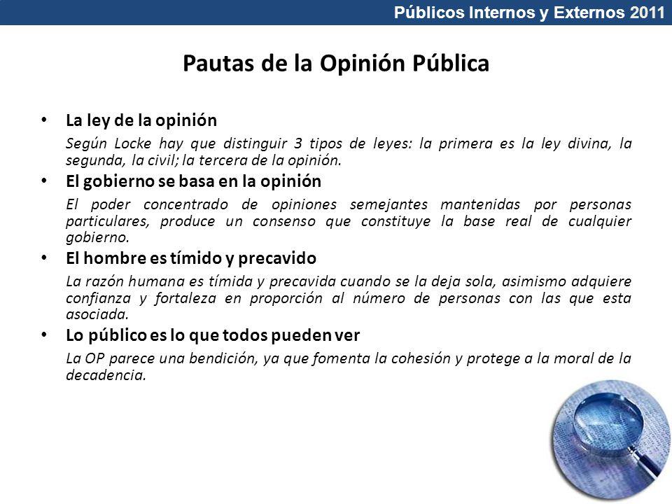 Públicos Internos y Externos 2011 Pautas de la Opinión Pública La ley de la opinión Según Locke hay que distinguir 3 tipos de leyes: la primera es la
