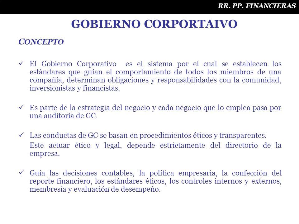 C ONCEPTO El Gobierno Corporativo es el sistema por el cual se establecen los estándares que guían el comportamiento de todos los miembros de una comp