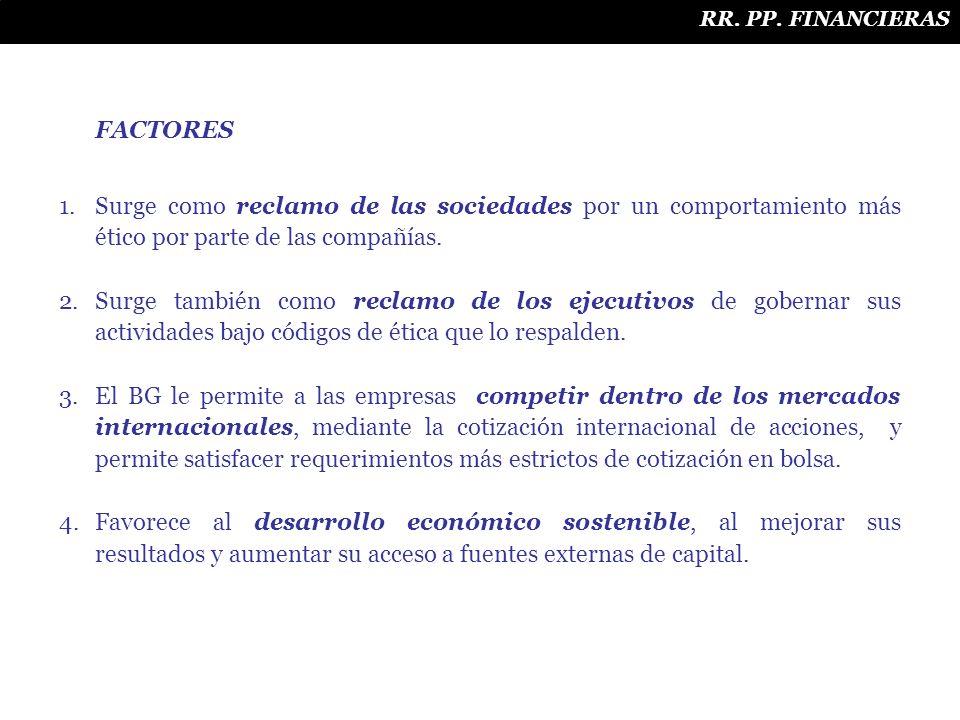RR. PP. FINANCIERAS FACTORES 1.Surge como reclamo de las sociedades por un comportamiento más ético por parte de las compañías. 2.Surge también como r