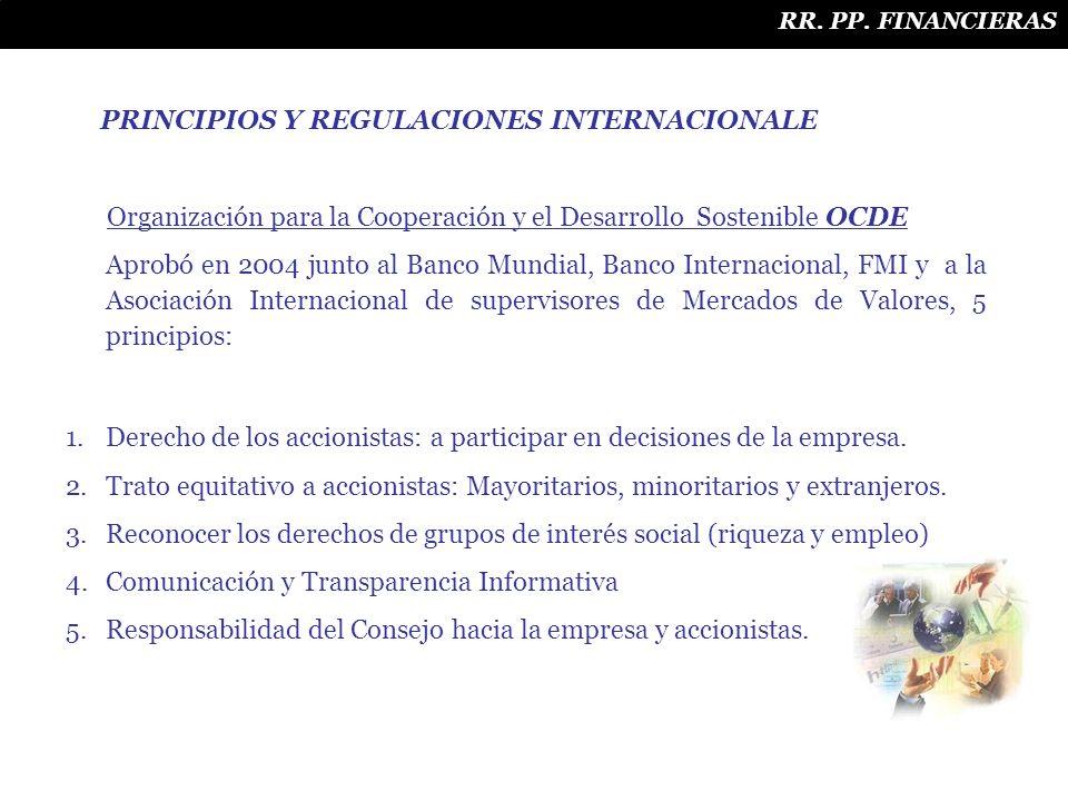 PRINCIPIOS Y REGULACIONES INTERNACIONALE Organización para la Cooperación y el Desarrollo Sostenible OCDE Aprobó en 2004 junto al Banco Mundial, Banco