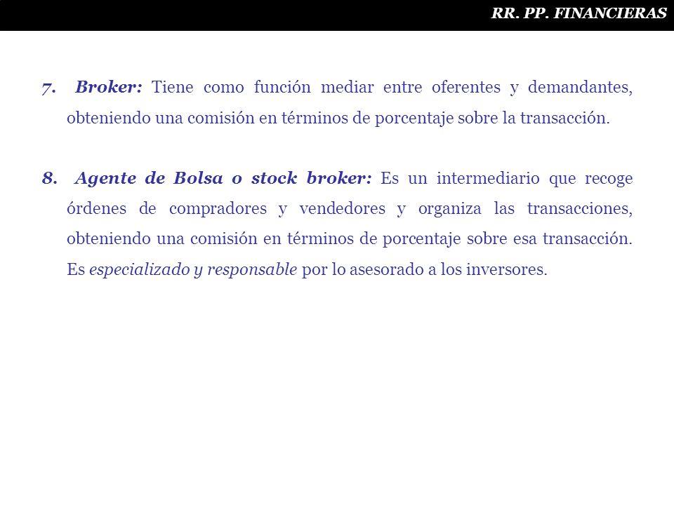 7. Broker: Tiene como función mediar entre oferentes y demandantes, obteniendo una comisión en términos de porcentaje sobre la transacción. 8. Agente