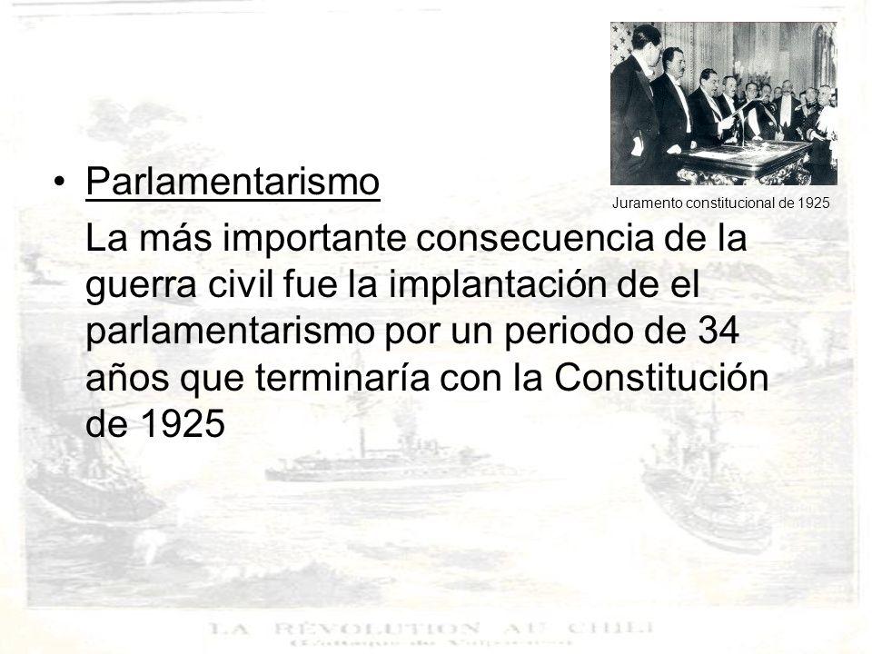 IMPLICANCIAS INTERNACIONALES DE LA GUERRA CIVIL DE 1891 1.DEBILITAMIENTO DE LA POSICION DE CHILE EN AMERICA La guerra civil contribuyó a quebrantar la posición de preeminencia de Chile en Latinoamérica, que había adquirido en la Guerra del Pacífico y mediante la acción del gobierno de Balmaceda.