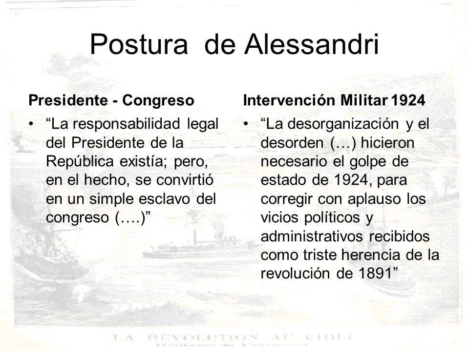 Postura de Julio Heise González El verdadero revolucionario fue el Presidente de la República y no el Parlamento Balmaceda desobedeció las leyes y la constitución, usurpando el poder público por la fuerza.