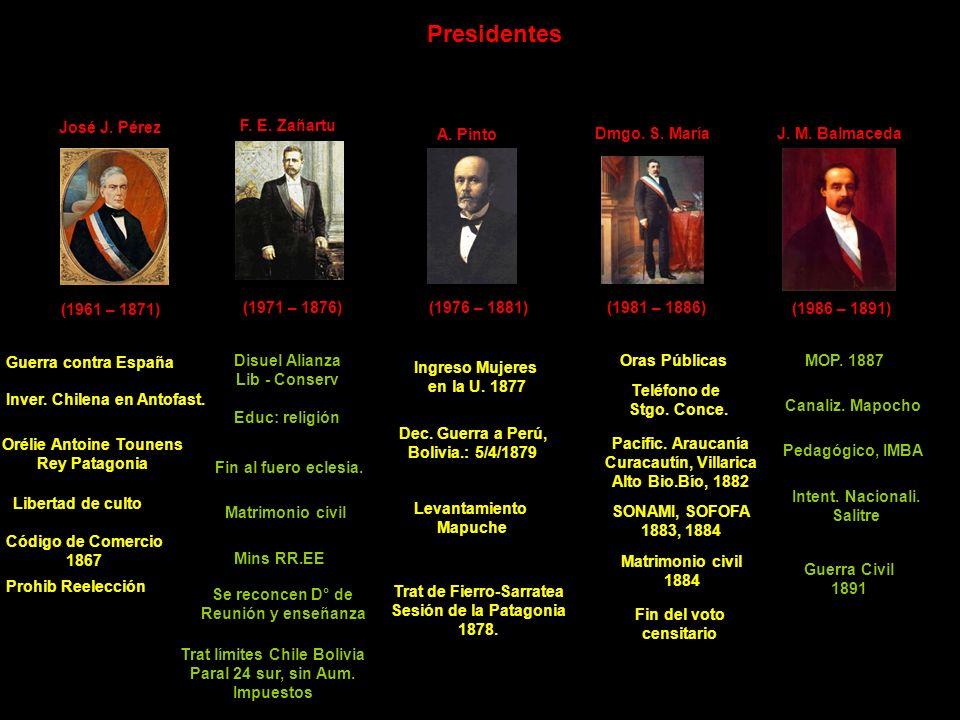 Presidentes José J. Pérez (1961 – 1871) Guerra contra España Inver. Chilena en Antofast. Orélie Antoine Tounens Rey Patagonia Libertad de culto F. E.