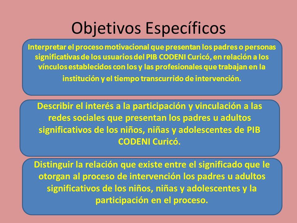 Objetivos Específicos Interpretar el proceso motivacional que presentan los padres o personas significativas de los usuarios del PIB CODENI Curicó, en