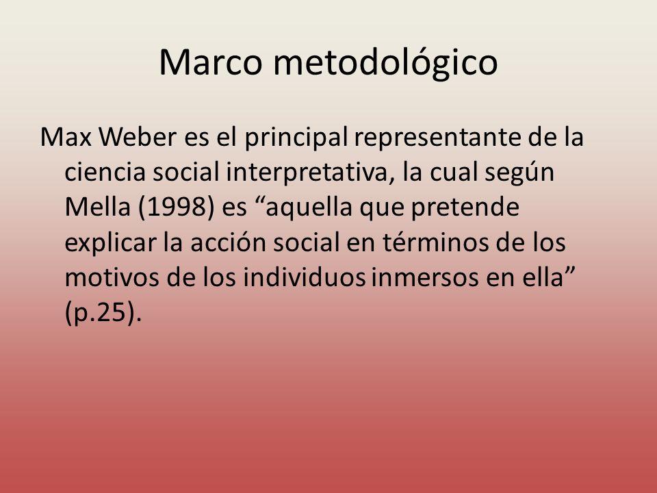 Marco metodológico Max Weber es el principal representante de la ciencia social interpretativa, la cual según Mella (1998) es aquella que pretende exp