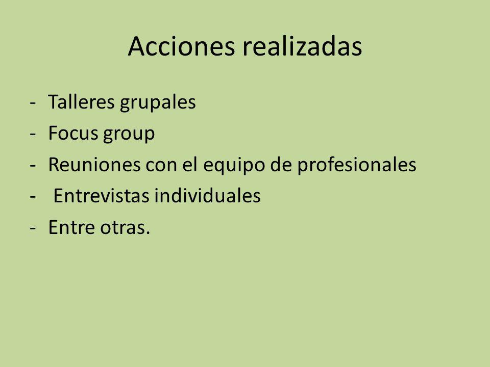 Acciones realizadas -Talleres grupales -Focus group -Reuniones con el equipo de profesionales - Entrevistas individuales -Entre otras.