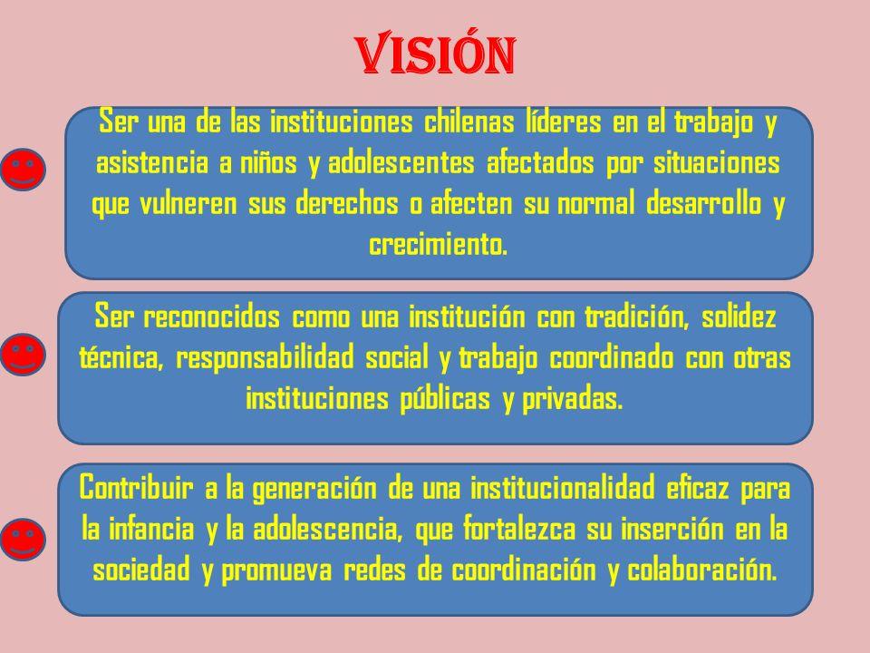 VISIÓN Ser una de las instituciones chilenas líderes en el trabajo y asistencia a niños y adolescentes afectados por situaciones que vulneren sus dere