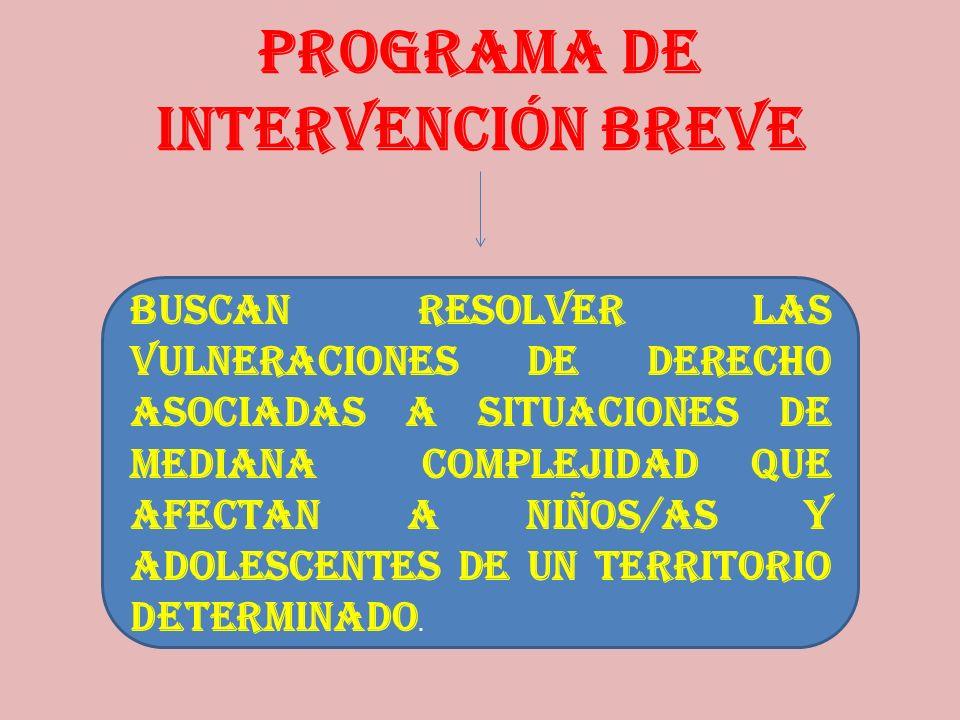 PROGRAMA DE INTERVENCIÓN BREVE Buscan resolver las vulneraciones de derecho asociadas a situaciones de mediana complejidad que afectan a niños/as y ad