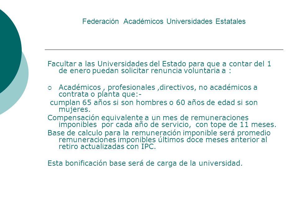 Federación Académicos Universidades Estatales Facultar a las Universidades del Estado para que a contar del 1 de enero puedan solicitar renuncia volun