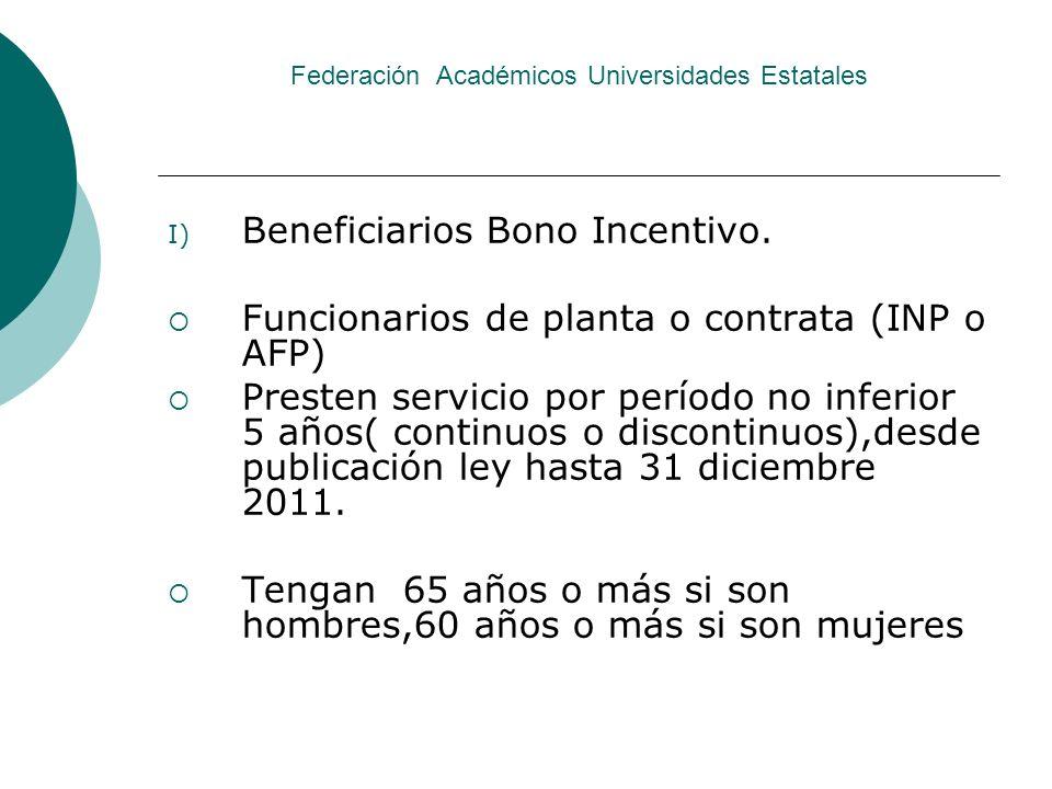 Federación Académicos Universidades Estatales I) Beneficiarios Bono Incentivo. Funcionarios de planta o contrata (INP o AFP) Presten servicio por perí