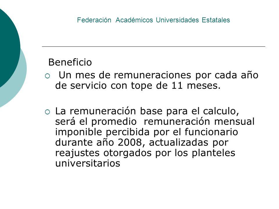 Federación Académicos Universidades Estatales Beneficio Un mes de remuneraciones por cada año de servicio con tope de 11 meses. La remuneración base p