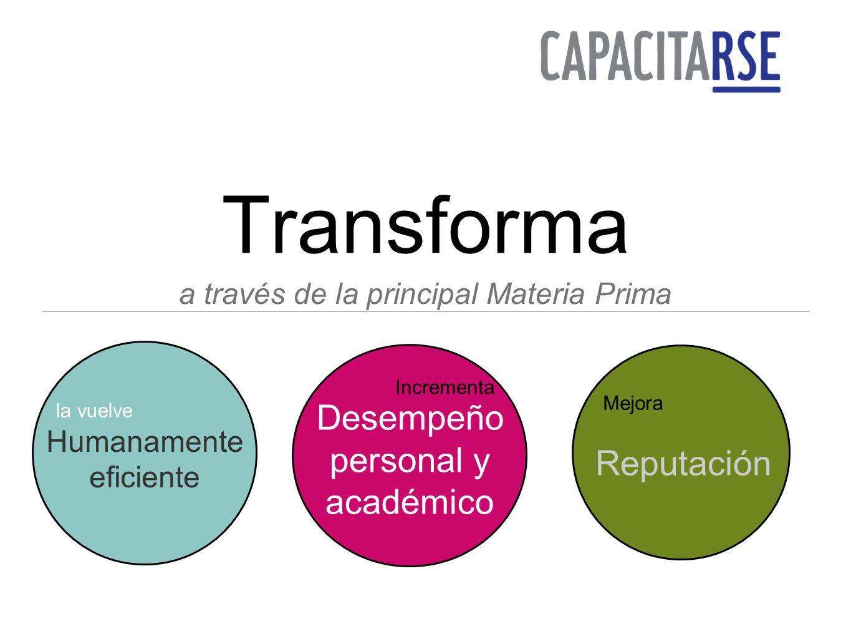 Transforma a través de la principal Materia Prima Humanamente eficiente Desempeño personal y académico Reputación la vuelve Incrementa Mejora