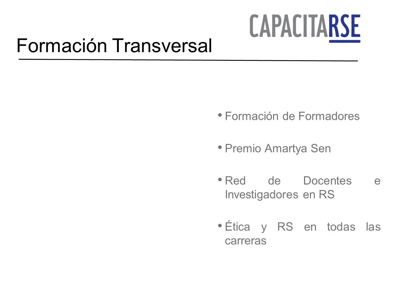 Formación Transversal Formación de Formadores Premio Amartya Sen Red de Docentes e Investigadores en RS Ética y RS en todas las carreras