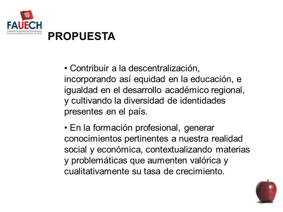 PROPUESTA Contribuir a la descentralización, incorporando así equidad en la educación, e igualdad en el desarrollo académico regional, y cultivando la diversidad de identidades presentes en el país.