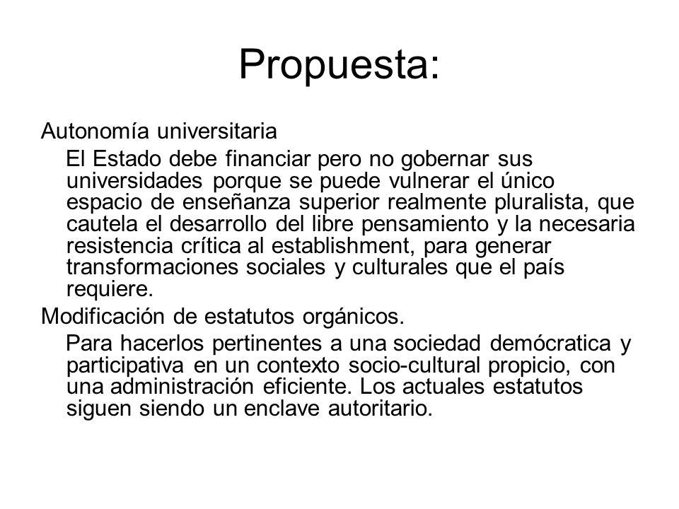 Propuesta: Autonomía universitaria El Estado debe financiar pero no gobernar sus universidades porque se puede vulnerar el único espacio de enseñanza