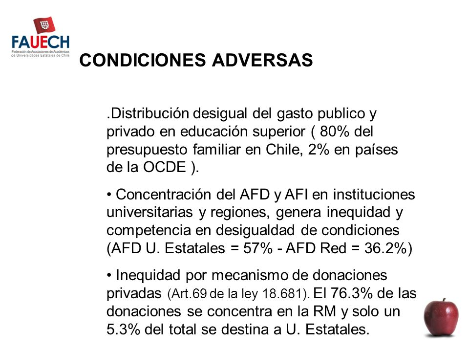 CONDICIONES ADVERSAS.Distribución desigual del gasto publico y privado en educación superior ( 80% del presupuesto familiar en Chile, 2% en países de la OCDE ).