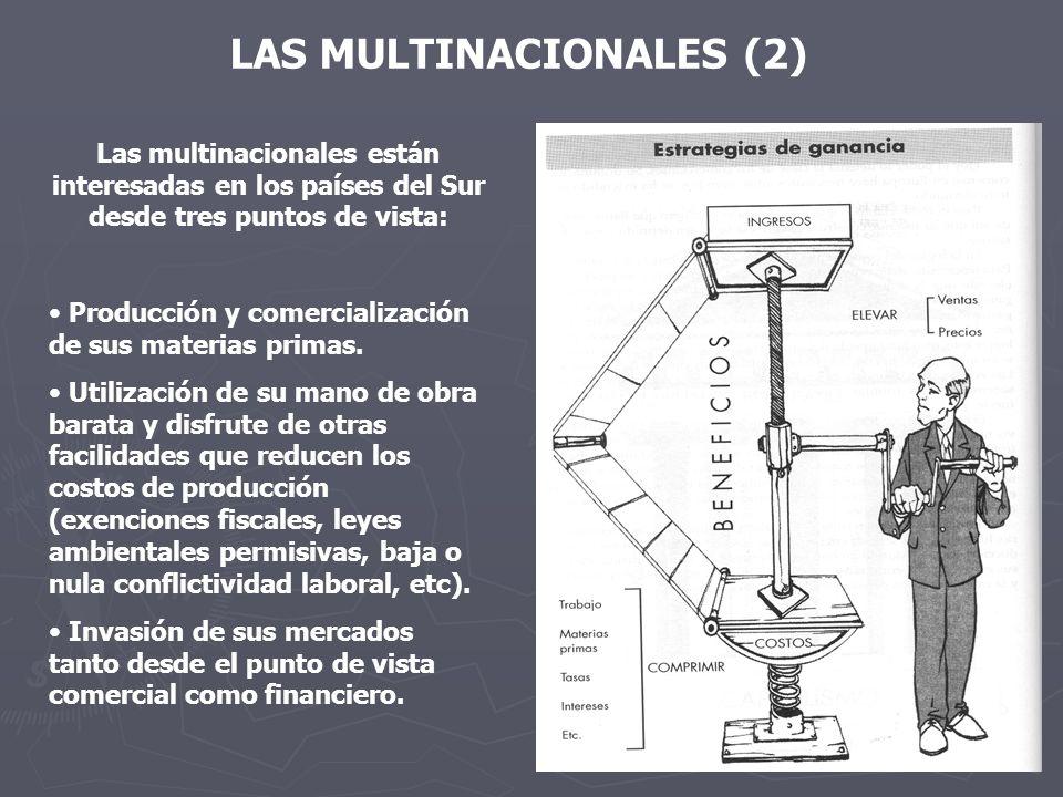 LAS MULTINACIONALES (2) Las multinacionales están interesadas en los países del Sur desde tres puntos de vista: Producción y comercialización de sus materias primas.