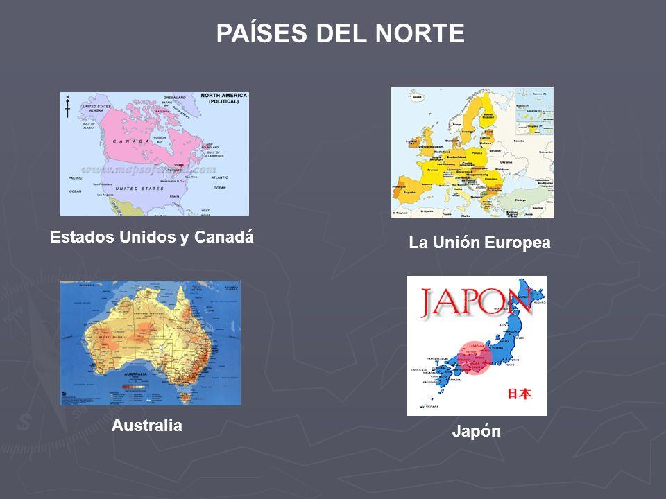 PAÍSES DEL NORTE Estados Unidos y Canadá La Unión Europea Australia Japón