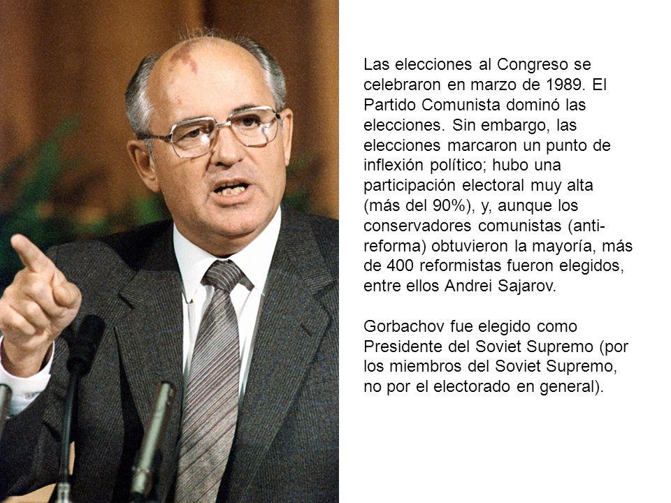 Las elecciones al Congreso se celebraron en marzo de 1989. El Partido Comunista dominó las elecciones. Sin embargo, las elecciones marcaron un punto d