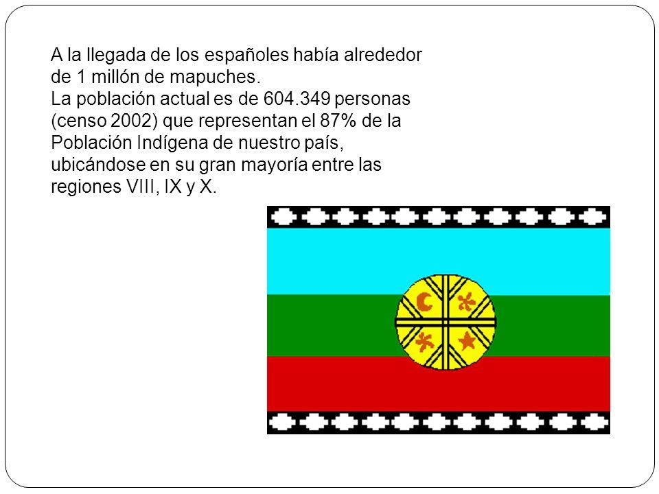 A la llegada de los españoles había alrededor de 1 millón de mapuches. La población actual es de 604.349 personas (censo 2002) que representan el 87%