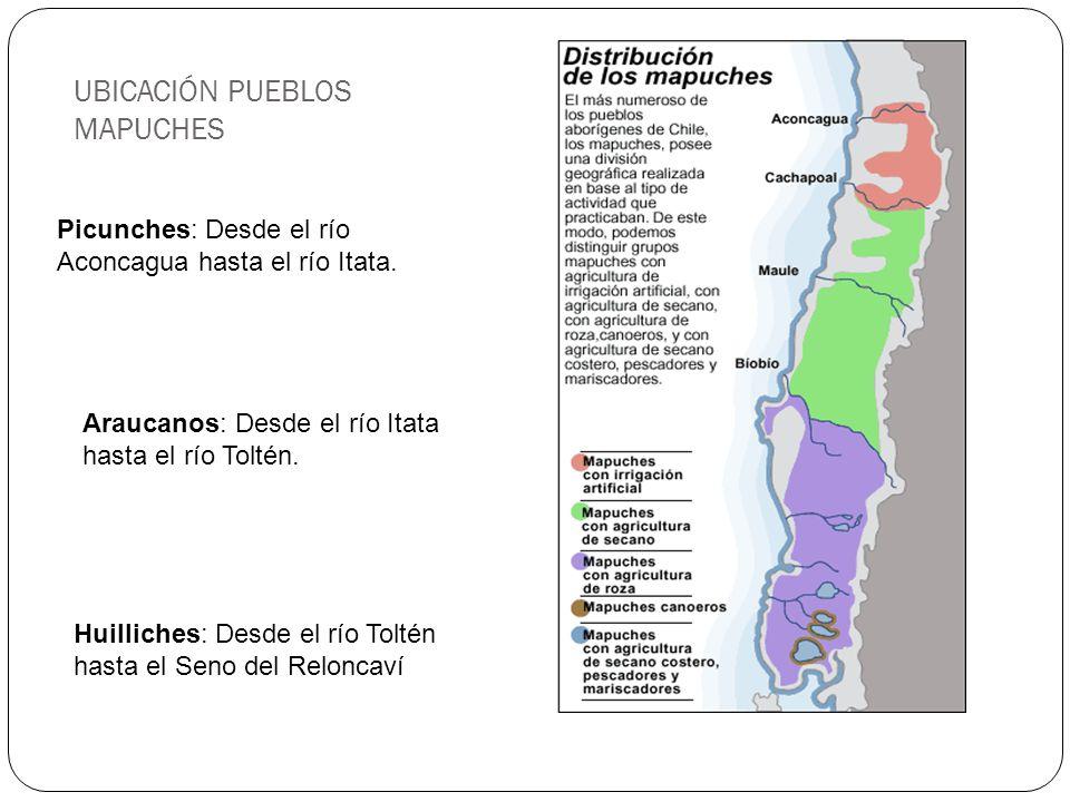UBICACIÓN PUEBLOS MAPUCHES Picunches: Desde el río Aconcagua hasta el río Itata. Araucanos: Desde el río Itata hasta el río Toltén. Huilliches: Desde