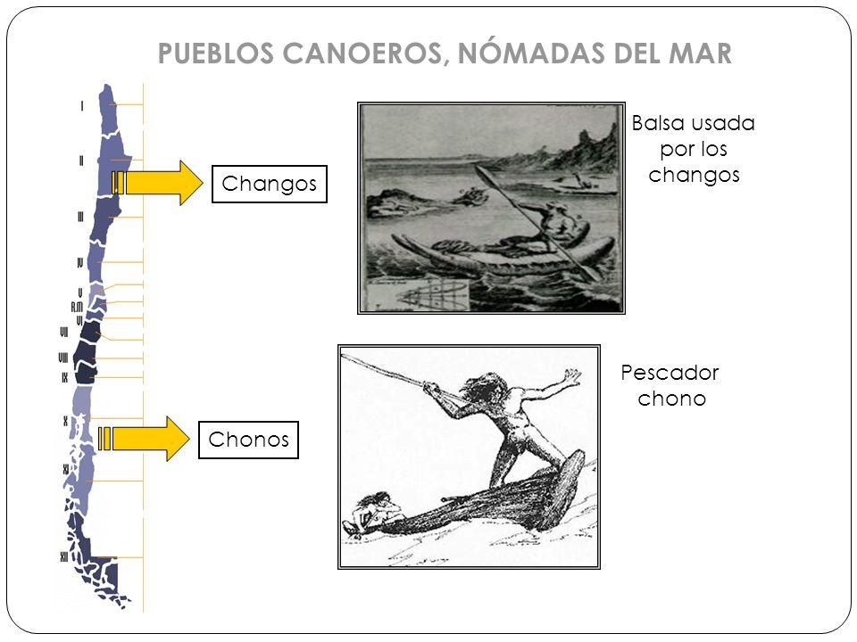 PUEBLOS CANOEROS, NÓMADAS DEL MAR Changos Chonos Balsa usada por los changos Pescador chono