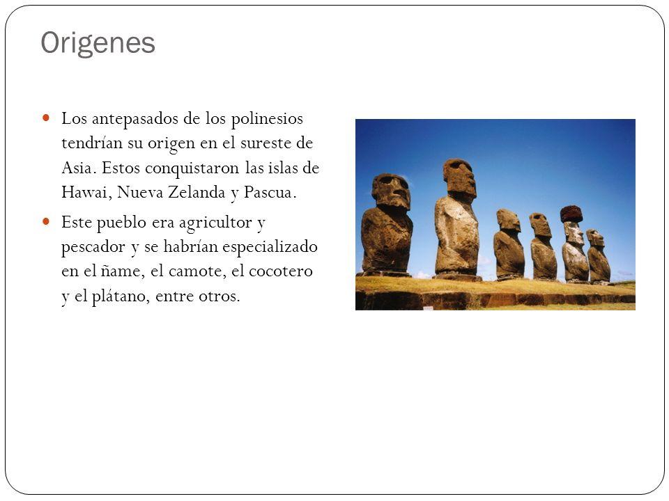 Origenes Los antepasados de los polinesios tendrían su origen en el sureste de Asia. Estos conquistaron las islas de Hawai, Nueva Zelanda y Pascua. Es