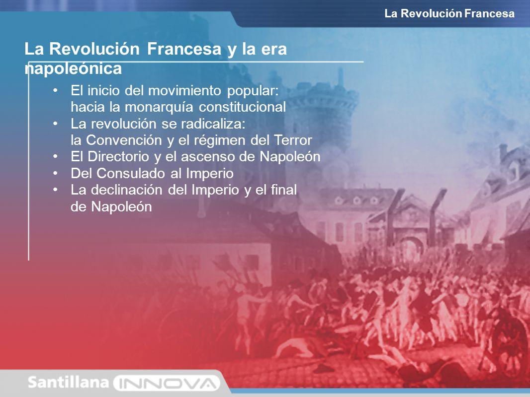 El inicio del movimiento popular: hacia la monarquía constitucional La revolución se radicaliza: la Convención y el régimen del Terror El Directorio y