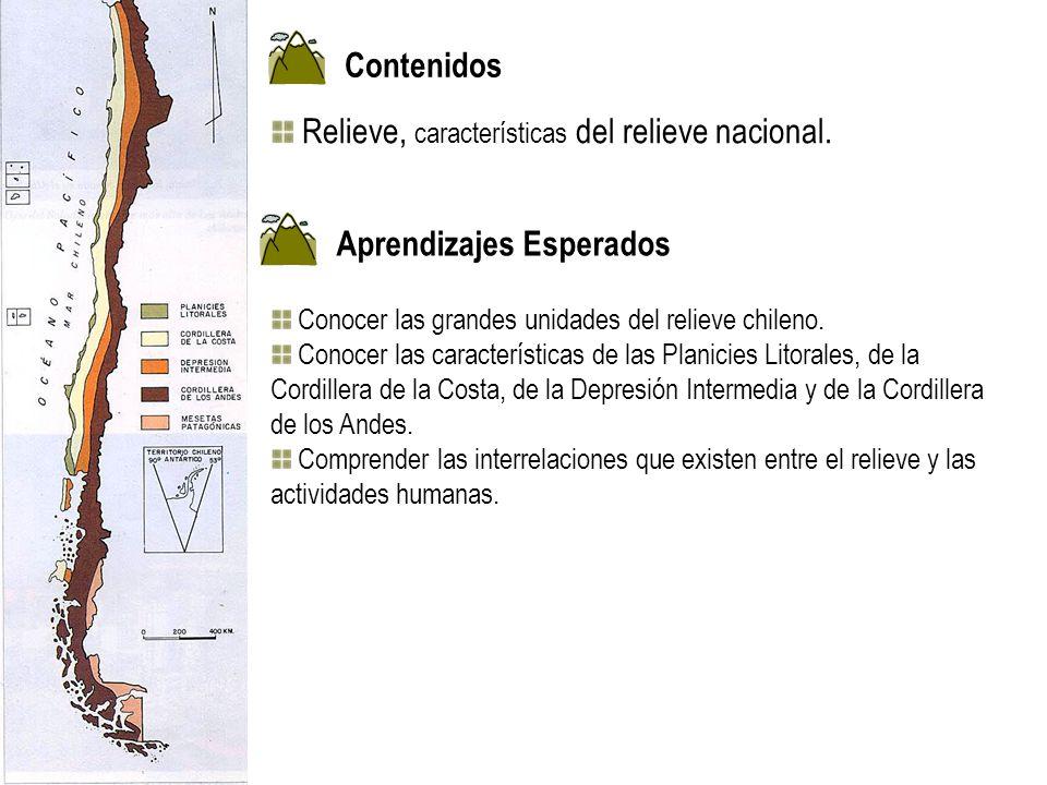 Conocer las grandes unidades del relieve chileno. Conocer las características de las Planicies Litorales, de la Cordillera de la Costa, de la Depresió