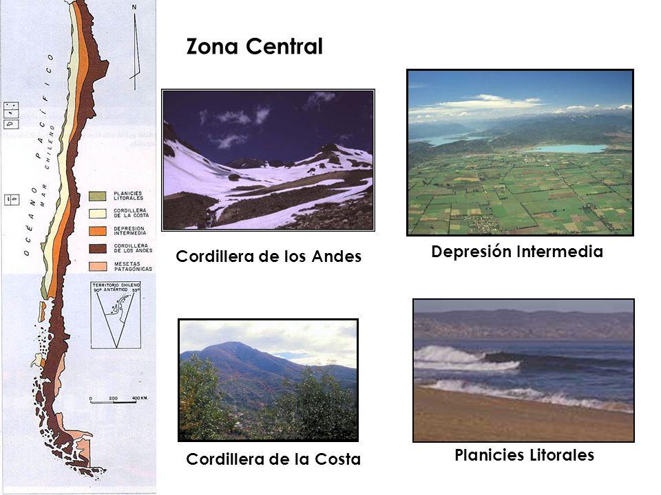 Zona Central Cordillera de los Andes Depresión Intermedia Cordillera de la Costa Planicies Litorales
