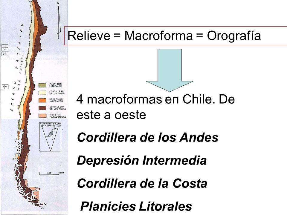 Relieve = Macroforma = Orografía 4 macroformas en Chile. De este a oeste Cordillera de los Andes Depresión Intermedia Cordillera de la Costa Planicies