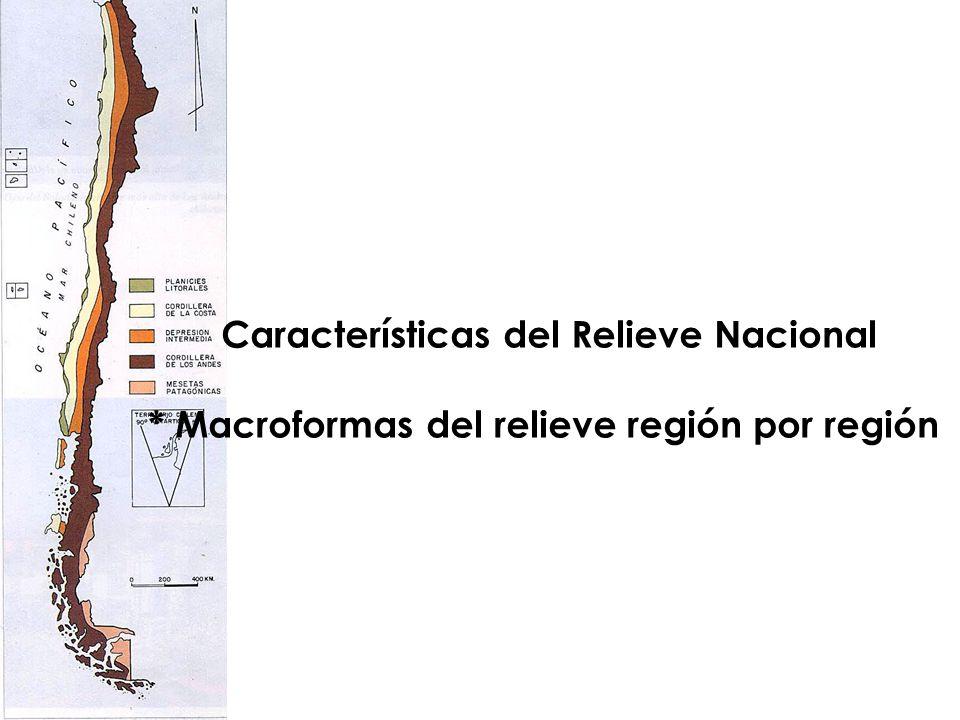 Características del Relieve Nacional * Macroformas del relieve región por región