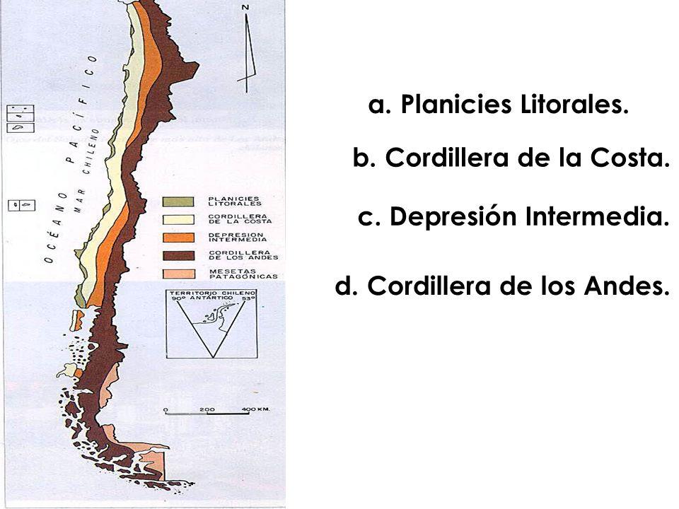 a. Planicies Litorales. b. Cordillera de la Costa. c. Depresión Intermedia. d. Cordillera de los Andes.
