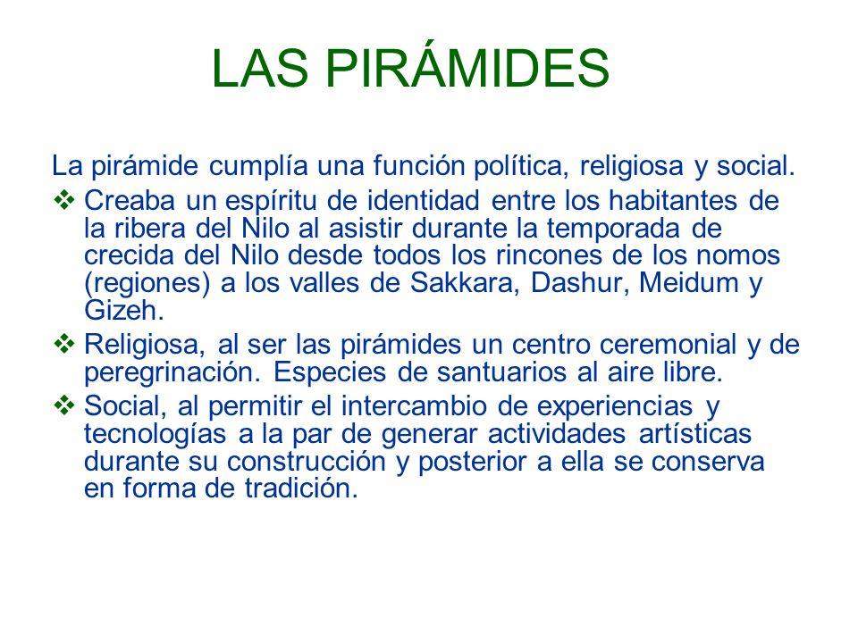 LAS PIRÁMIDES La pirámide cumplía una función política, religiosa y social. Creaba un espíritu de identidad entre los habitantes de la ribera del Nilo