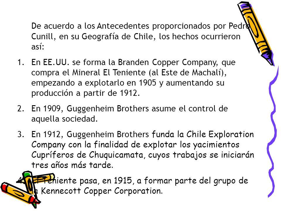 De acuerdo a los Antecedentes proporcionados por Pedro Cunill, en su Geografía de Chile, los hechos ocurrieron así: 1.En EE.UU. se forma la Branden Co