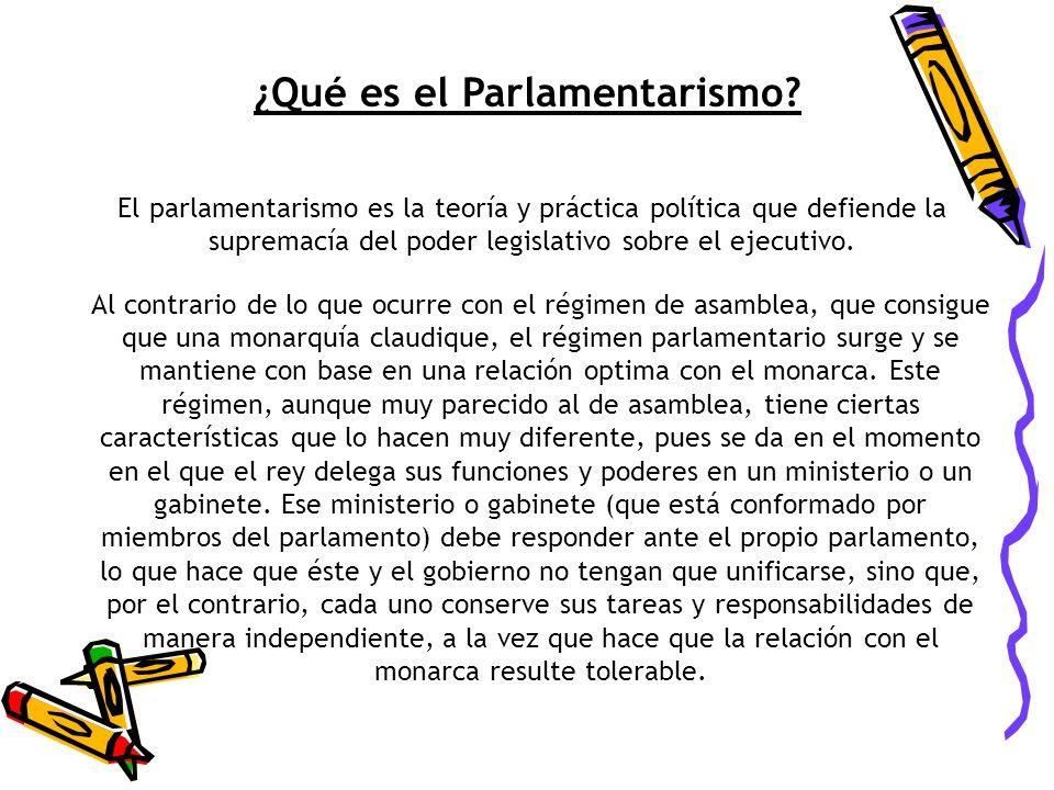 ¿Qué es el Parlamentarismo? El parlamentarismo es la teoría y práctica política que defiende la supremacía del poder legislativo sobre el ejecutivo. A