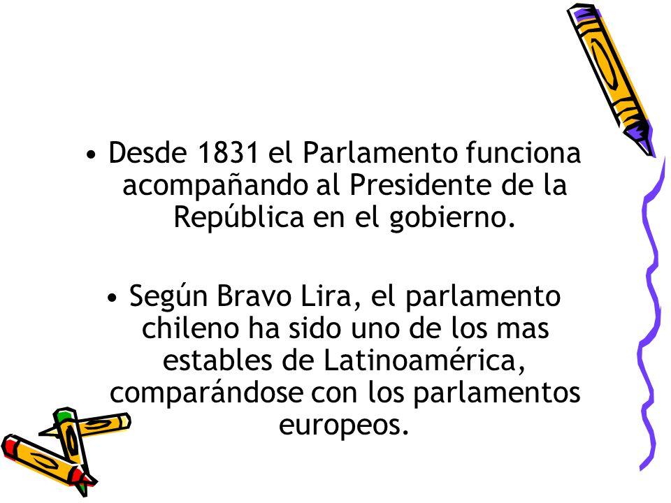 Desde 1831 el Parlamento funciona acompañando al Presidente de la República en el gobierno. Según Bravo Lira, el parlamento chileno ha sido uno de los