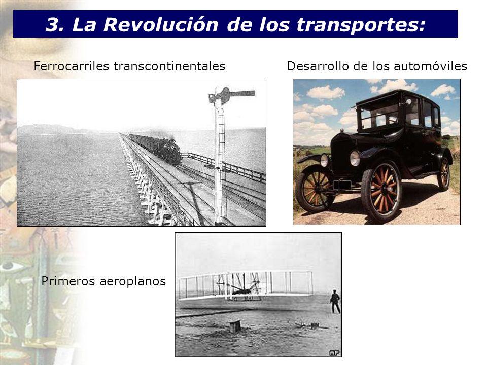 3. La Revolución de los transportes: Ferrocarriles transcontinentalesDesarrollo de los automóviles Primeros aeroplanos