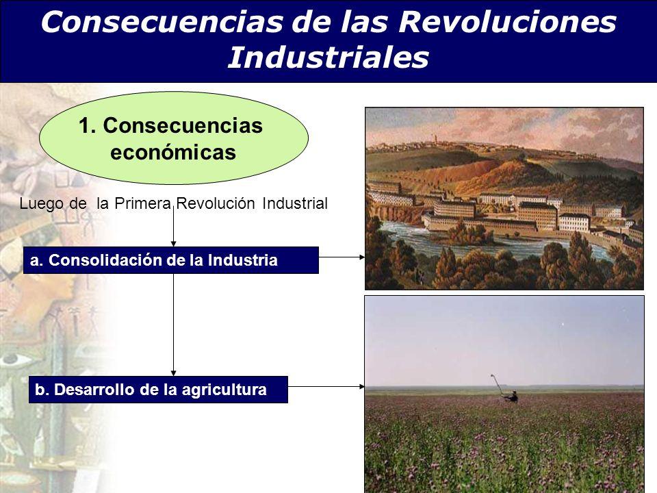 Consecuencias de las Revoluciones Industriales a. Consolidación de la Industria b. Desarrollo de la agricultura Luego de la Primera Revolución Industr