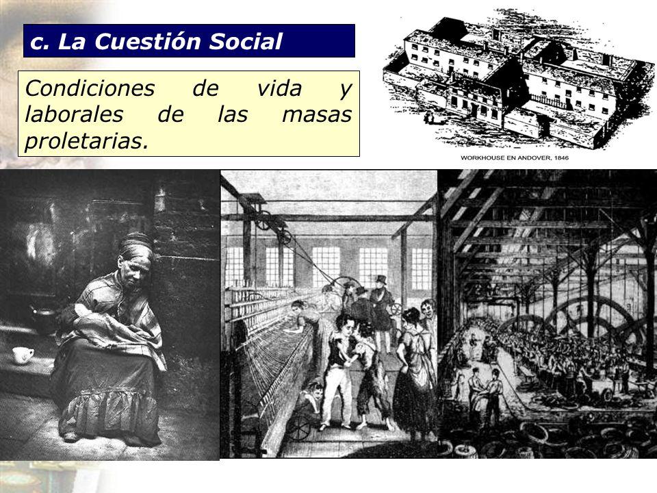 c. La Cuestión Social Condiciones de vida y laborales de las masas proletarias.